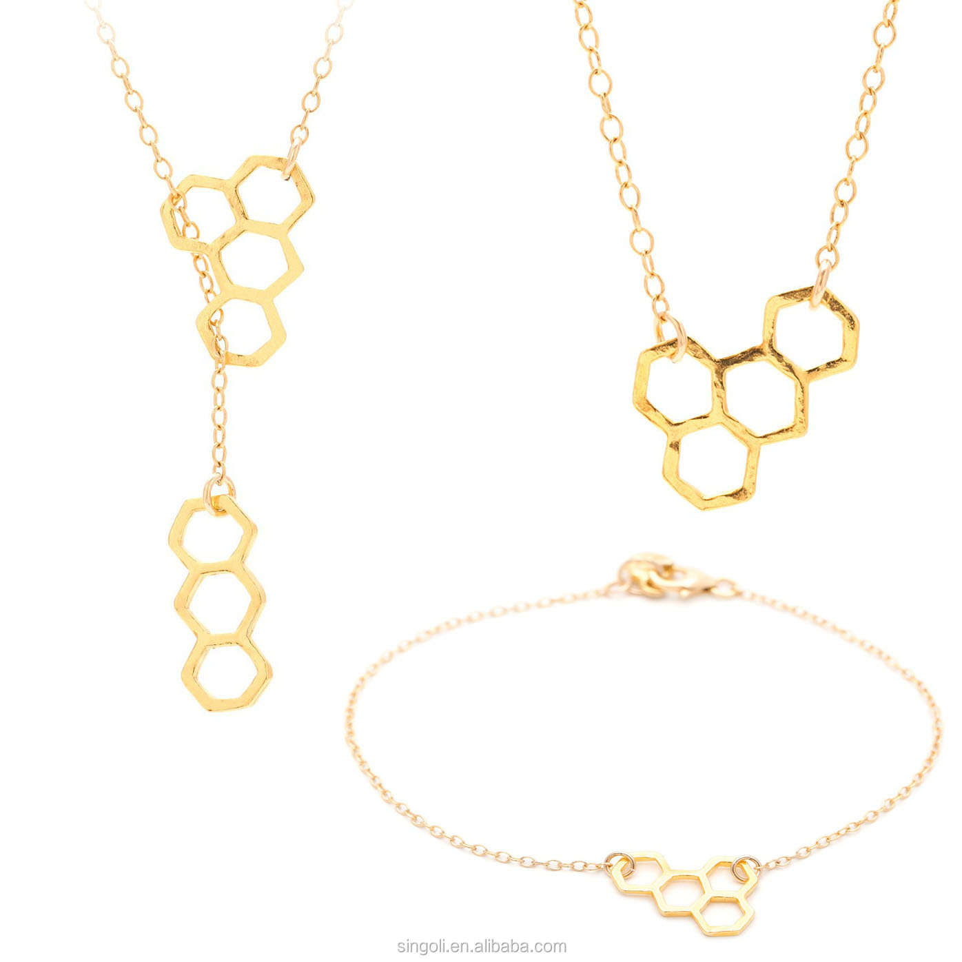 wholesale gold plated Caffeine honeycomb lariat jewelry necklace ad bracelet