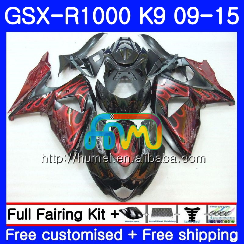 Fairing For SUZUKI GSX-<strong>R1000</strong> GSXR 1000 09 10 11 12 13 15 74HM27 GSX <strong>R1000</strong> K9 red flames GSXR1000 2009 2010 2011 2012 2014 2015