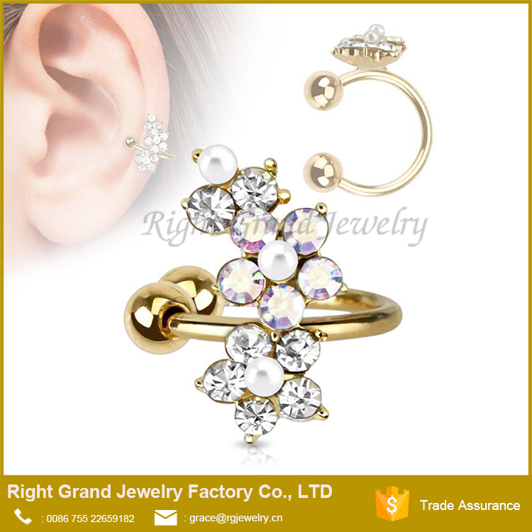 Gold Plated Non Pierced Flower Crystal Ear Cuff Cartilage Earring Clip