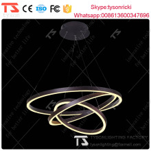 Fancy Coffee Gold Modern Decorative Circle Ring Acrylic Lighting Led Restaurant Pendant Light