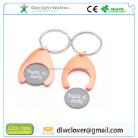 printed with your company logo plastic supermarket Trolley coin keyring