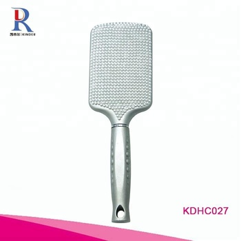Professional wholesale rhinestone bling personalized custom hair paddle brush cheap promotion massage brush with pearls