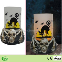 Polyresin skull statue garden led candle light for Halloween decoration