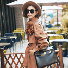 Women Fashion Brown European style long sleeve tie waist military wool long coat