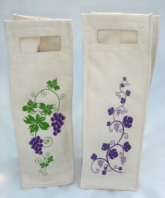SINGLE BOTTLE WINE BAG 100% PERUVIAN ORGANIC COTTON RE-USABLE
