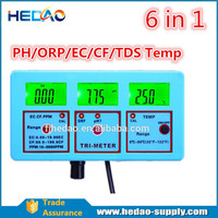 Precision 6-in-1 Reader w/ Probes Adapter Digital Monitor Water Testing Meter Multitester Temperature pH TDS EC CF PPM