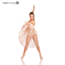 Dance wear beautiful latin Stage Performance lyrical Gold adult fairy girls tulle dress