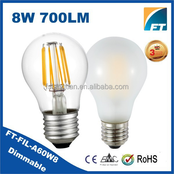 New Products 2015 Hot Sale 8w led filament bulb,E27 Dimmable filament led bulb ,led filament