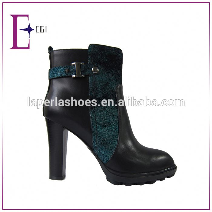 cheap fashion black pu leather high heels ankle <strong>boots</strong>