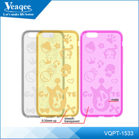 Veaqee Mix Colors Slim Thin Soft Crystal Clear Hybrid Tpu + Pc Gel Protective Case Cover For Iphone 6