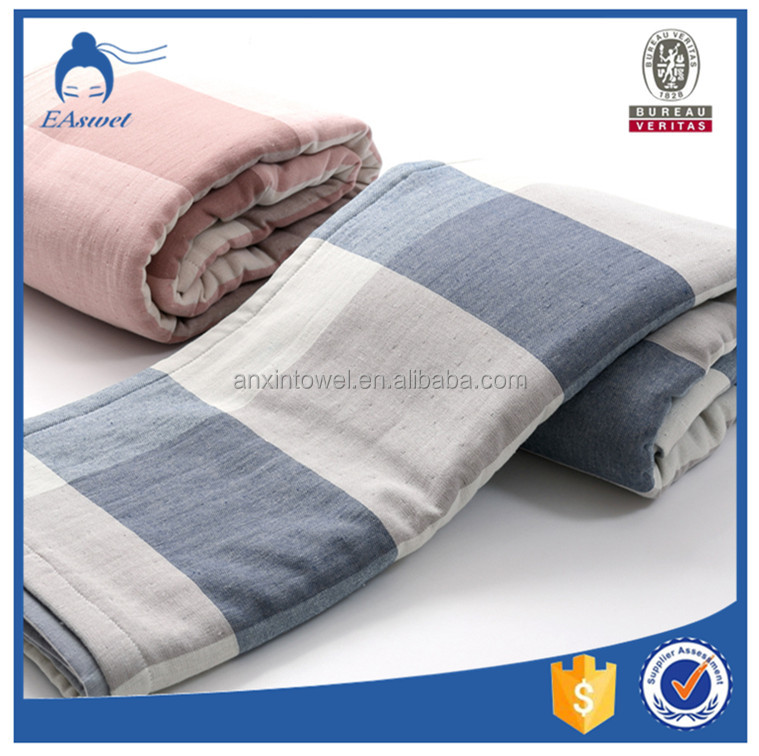 Wholesale Queen Size Woven Luxury Hotel Cotton Gauze Towel Blanket for Bedding