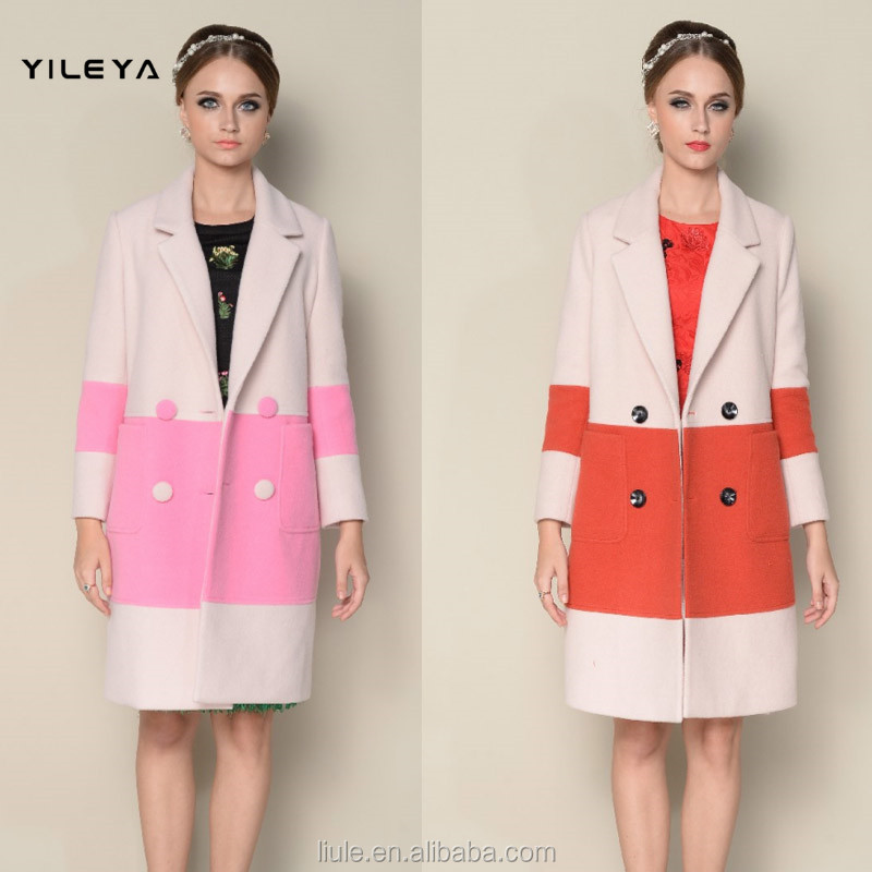 DWL001good selling contrasting color designed double breasted style korea women winter coat
