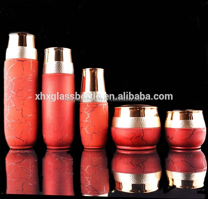 Luxuey Unique 30G 50G Glass Cream Jars 100Ml 120Ml Crack Red Cosmetic Bottles