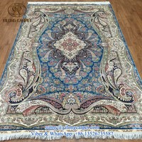 handmade 5x8f blue top quality silk double knotted perisan turkish rug