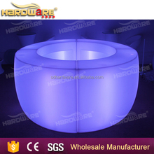 PE led light furniture bar round light up illuminated table
