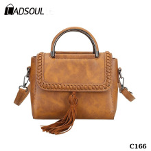 Ladies Tassel Woven Messenger Bags PU leather Shoulder Handbags