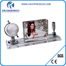 Sublimation blank Photo Crystal Globe& Pen Holder Set for gift