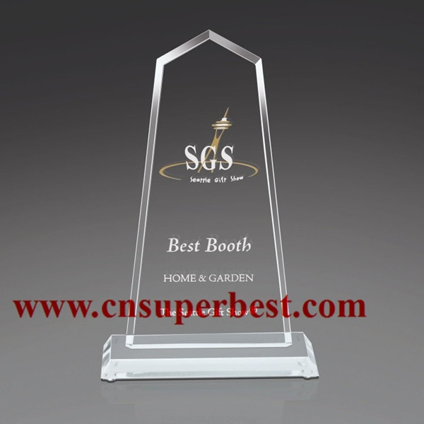 Polishing laser engraved acrylic trophy awards for souvenir