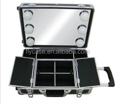 aluminium lighted makeup train case with mirror makeup case with legs