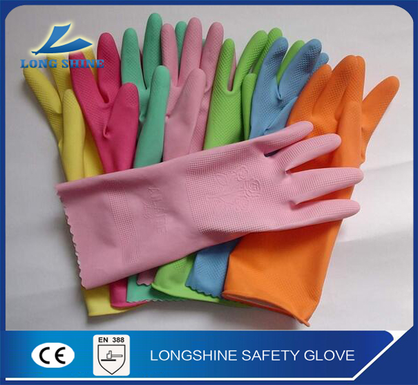 High Quality 100% Rubber Waterproof Long cuff Household cleaning Latex Hand Gloves CE approved