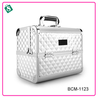 Professional lighter aluminum silver portable large capacity makeup case
