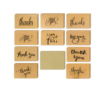 Best Seller Popular Kraft Paper Custom Size Design 36 48 Pack Thank You Note Thank You Cards Pack