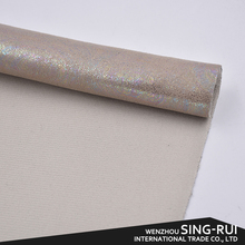 Fancy Pattern Rainbow Color Fabric, PU Synthetic Leather Fabric For Shoes