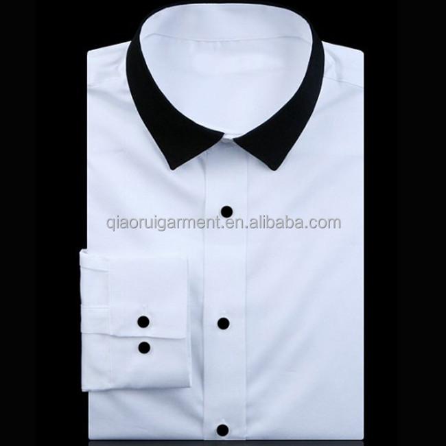 2014 Latest New Design Men's Fashion Black Collar White Shirt ...