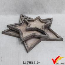 star decorative beverage serving trays wooden