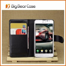 Wallet leather high quality case for lg optimus f6