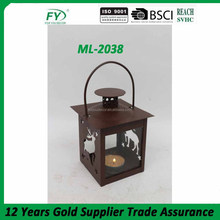 Classic decorative rusty color metal Lantern with deer decoration and two sides with glass panels ML-2038