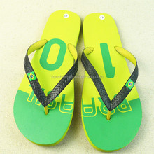 High quality plain rubber flip flop with brazil flag