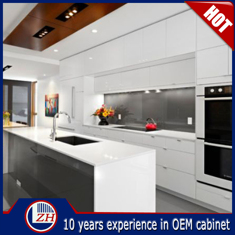 Australian standard cheap kitchen cabinets in white glossy surface design