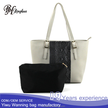 B-3355 Ladies handbag at low price litchi grain faux leather tote bag set handbag and purses sets