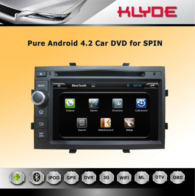 KLYDE auto radio double din car dvd for spin with GPS navi