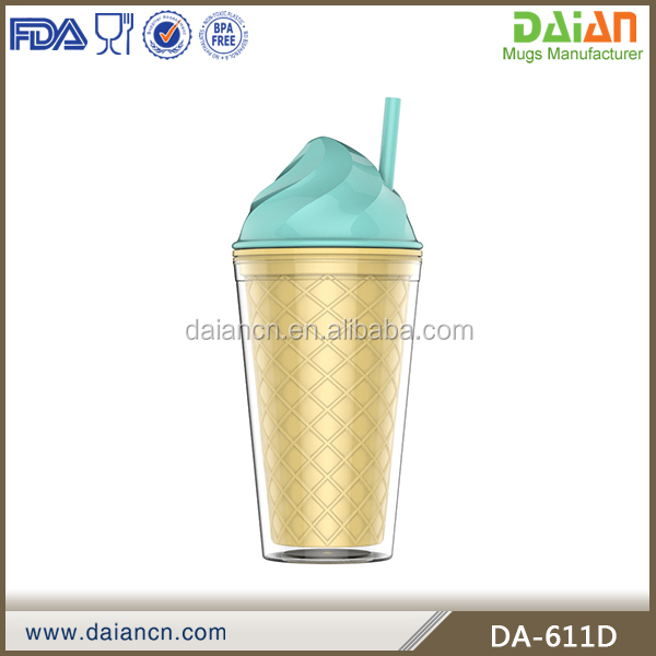 Plastic 16oz Ice Cream Tumbler with Straw