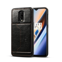 High quality drop shipping TPU + PC + PU Crazy Horse Texture Protective phone <strong>Case</strong> for OnePlus 6T with Holder &amp; Card Slots
