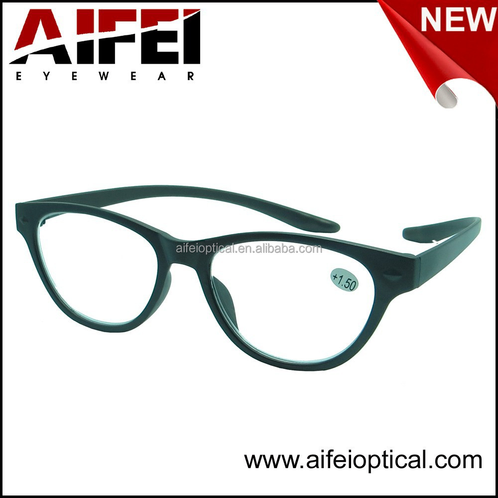 New color female plastic reaing glasses with long temple and fake metal decoration