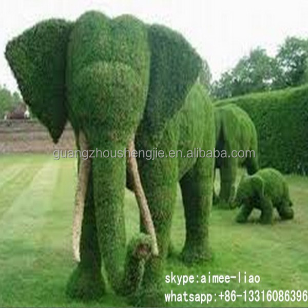 Q020206 China manufacturer export artificial grass animal ornamental elephant plastic animal topiary
