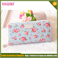 Guangzhou New Design Flower Printed Lady Wallets and Purses with zipper/Wholesale Fashion Gift