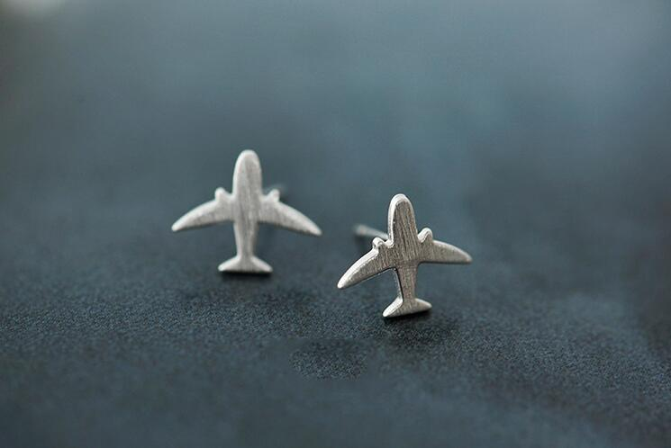 2016 New Fashion 925 Sterling Silver Matte Airplane Stud Earring for Women Gift