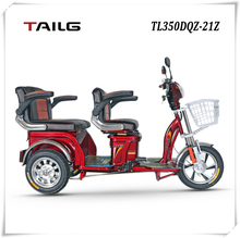 dongguan tailg cheap two seats adult electric tricycle with motor and passenger seat