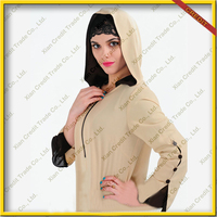 2015 fashion abaya with hood muslim women clothes women Abaya with contrast color jointing porpular in Dubai