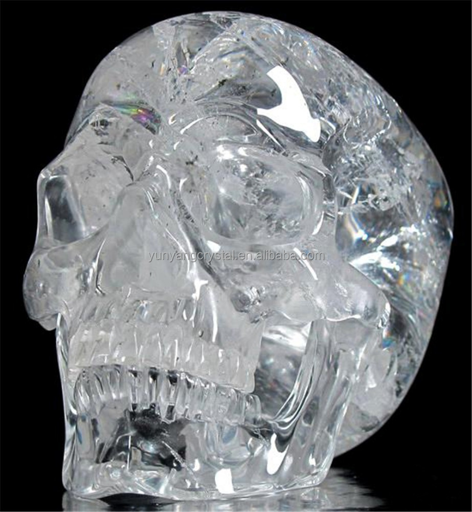 Charming Handmade Life Size Clear Crystal Skull With Live