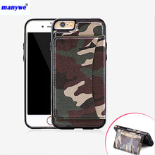 New brand manywe PU camo cell leather phone case for iphone 6