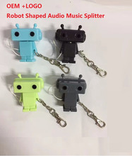 OEM With logo 3.5mm Novelty Robot Shaped Audio Music headphone Splitter adapter
