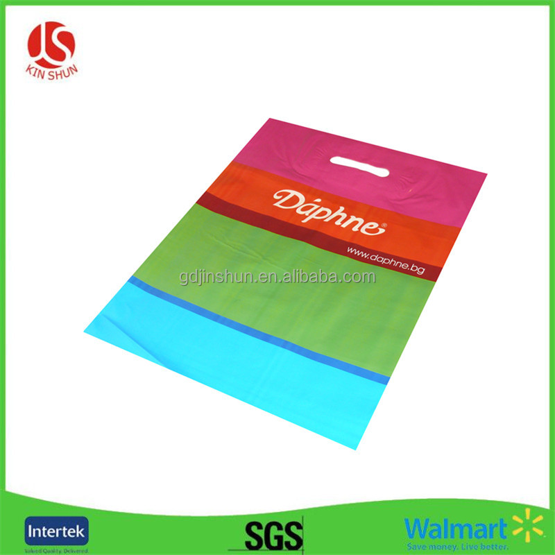 HDPE Material and Gravure Printing Surface Handling Die Cut Packaging Shopping Carrier Plastic Bag