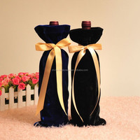 Factory custom Drawstring wine bottle velvet bag with satin neck pull cord drawstring
