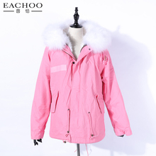 Long style 100% cotton shell material pink fur parka
