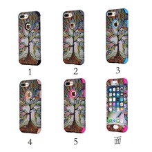 New colorful dreaming tree cover compound 3 in 1 case silicon+ hard PC mobile phone case for iphone 6s 6plus for iphone 7 7 plus